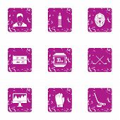Sport Pulse Icons Set. Grunge Set Of 9 Sport Pulse Icons For Web Isolated On White Background poster