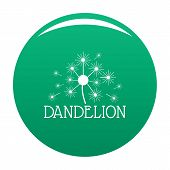 Fluffy Dandelion Logo Icon. Simple Illustration Of Fluffy Dandelion Icon For Any Design Green poster