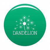 Fluffy Dandelion Logo Icon. Simple Illustration Of Fluffy Dandelion Icon For Any Design Green poster