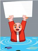 man caught in flood holding up sign