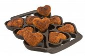 Heart Shaped Cornbread Muffins In An Antique Pan