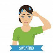 Common Symptom Of Panic Disorder - Sweating. Vector poster