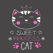 Cute Cat Princess And Inscription Sweet Princess. poster