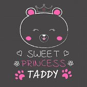 Cute Bear Princess And Inscription Sweet Princess. poster