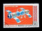 MONGOLIA - CIRCA 1965: A stamp printed in Mongolia shows the Soviet spaceship Soyuz-4, circa 1965 Se