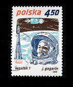 POLAND - CIRCA 1979:  A stamp printed in Poland shows first-ever cosmonaut Jury Gagarin, circa 1979