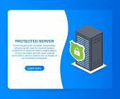 Protected Server. Isometric Database Protection Concept. Server Room Rack, Database Security, Shield poster