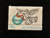 AUSTRALIA - CIRCA 1980s: A Stamp printed in  AUSTRALIA shows Christmas angel, circa 1980s.