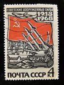 URSS - por volta de 1968: Um selo impresso em mostra a USSR mísseis nucleares soviéticos, por volta de 1968.