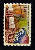 CUBA - por volta de 1986: Um selo impresso em CUBA mostra revolução agrária, por volta de 1986.