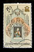 Checoslováquia - por volta de 1979: Um selo impresso na Checoslováquia mostra padroeiros de Praga, c