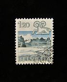 HELVETIA (SWITZERLAND) - CIRCA 1984: A Stamp printed in the HELVETIA shows Signo Aries, circa 1984.