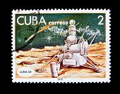 CUBA - CIRCA 1978: A stamp printed in the Cuba shows Space station Luna 24, circa 1978. Big space se