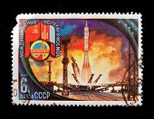 USSR - CIRCA 1981: A stamp printed in the USSR devoted to the Soviet-Polish cooperation in the Inte