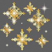 Shine Golden Snowflake Covered With Glitter On Transparent Background. Christmas Decoration With Shi poster