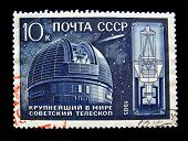 USSR - CIRCA 1985: A stamp printed in the USSR shows Soviet observatory and the world's largest tele