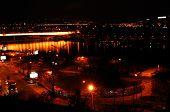 Belgrade (Serbia) Night Bridge poster