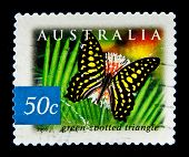 AUSTRALIA - CIRCA 2003: A stamp printed in Australia shows butterfly Green-spotted triangle, circa 2003