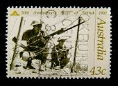 AUSTRALIA - CIRCA 1990-th: Australian postage stamp depicting 50-th anniversary siege of Tobruk, ci
