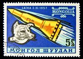 MONGOLIA - CIRCA 1980s: A stamp printed in Mongolia shows Laika - first dog in space, circa 1980s