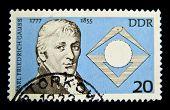 GERMANY- CIRCA 1977: stamp printed by Germany, shows Carl Friedrich Gauss - mathematician, circa 1977.
