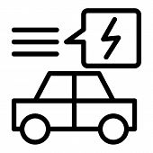 Electric Car Line Icon. Ecology Automobile Vector Illustration Isolated On White. Ecology Transport  poster
