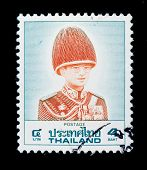 THAILAND - CIRCA 1970-th: A stamp printed in Thailand shows image of King Bhumibol Adulyadej, the world's longest serving head of state, series, circa 1970-th
