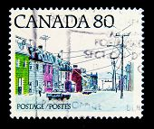 CANADA - CIRCA 1980-th: stamp printed by Canada, shows street of a provincial town, circa 1980-th