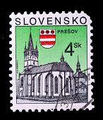 SLOVENIA - CIRCA 2000s: A stamp printed in Botswana shows Catholic cathedral in Presov, circa 2000s