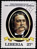 LIBERIA - CIRCA 2000s: A stamp printed in Liberia shows President Chester Arthur, circa 2000s.
