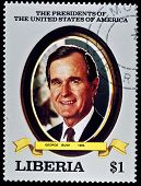LIBERIA - CIRCA 2000s: A stamp printed in Liberia shows President George Bush, circa 2000s.