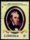 LIBERIA - CIRCA 2000s: A stamp printed in Liberia shows President William Henry Harrison, circa 2000s.