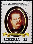 LIBERIA - CIRCA 2000s: A stamp printed in Liberia shows President Grover Cleveland, circa 2000s.