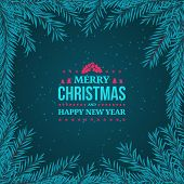 Fir Branches Frame On The Dark Blue Background With Falling Snow. New Year And Merry Christmas Label poster
