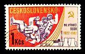 CZECHOSLOVAKIA - CIRCA 1982: a stamp printed by Czechoslovakia shows the first cosmonaut Jury Gagarin, circa 1982. Space Series
