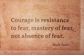 Courage Is Resistance To Fear, Mastery Of Fear - Famous American Writer Mark Twain Quote Printed On  poster
