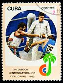 CUBA-CIRCA 1982 : A post stamp printed in Cuba shows Boxing, circa 1982