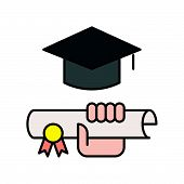 Hand Holding Diploma Certificate And Square Academic Cap, Education Icon Concept Editable Stroke Out poster