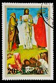 MONGOLIA - CIRCA 1972: A stamp printed in MONGOLIA shows paint by Bellini Blessed
