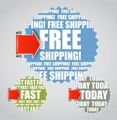Vector labels with accent arrows: Free shipping, today, fast