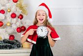 New Year Countdown. Girl Kid Santa Hat Costume Hold Clock Excited Happy Face Expression Counting Tim poster