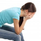 depression teen girl cried lonely isolated on white background
