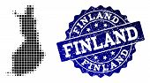Geographic Combination Of Dot Map Of Finland And Blue Grunge Seal Stamp Imprint. Halftone Vector Map poster