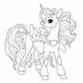 Cute Cartoon Character For Coloring Book. Pony Unicorn Doodle. Element For Childrens Creativity. Fa poster