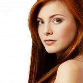 teenager girl beautiful red hair cheerful enjoying isolated