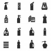 Detergents. Chemicals For Cleaning And Disinfection. Monochrome Icons. poster