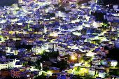 Night falls over Chefchaouen old medina