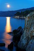 Moonrise over the Aegean Coast, Greece