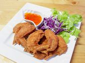 Fried Chicken Wing / Batter Fried Chicken Crispy On White Plate Chilli Spicy Sauce poster