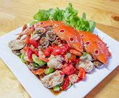 Seafood Plate On Wooden Table / Seafood Buffet Mix Salad Spicy With Shrimp Cockle Crab And Salad Let poster